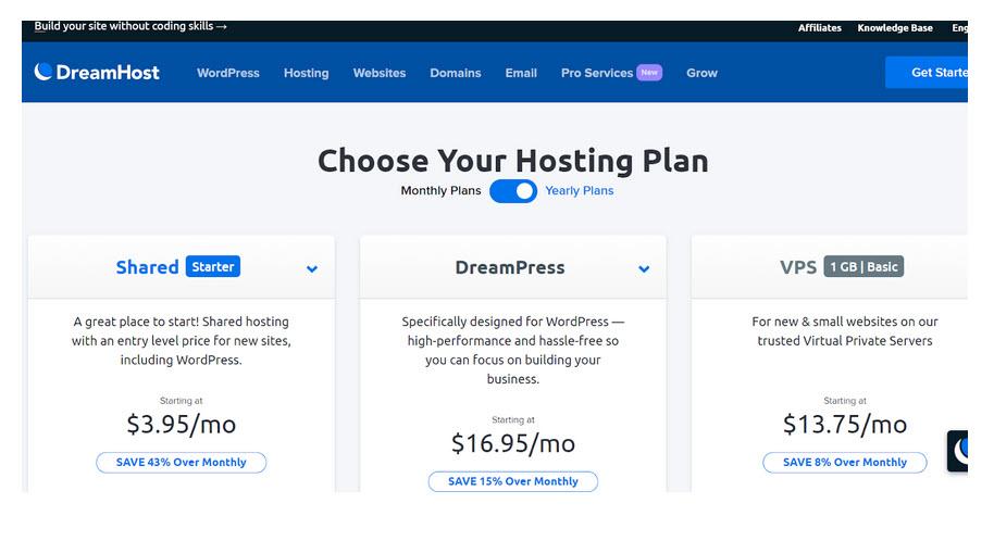 DH Web Hosting Plans